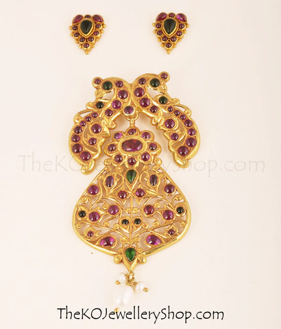 Antique finish South Indian temple jewellery set online