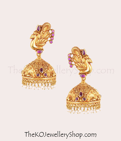 gold-plated exquisite jhumkas bridal temple jewellery collection