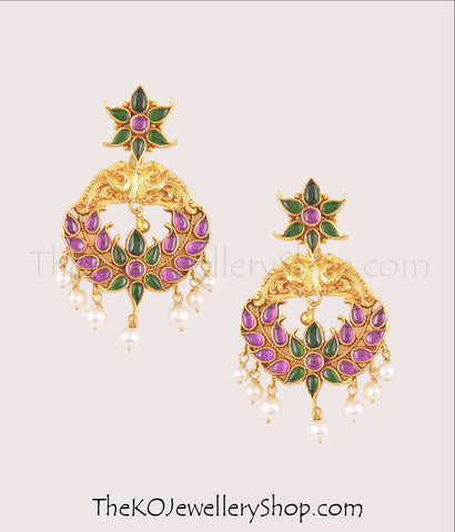 Hand crafted gold dipped  silver navaratna earrings shop online