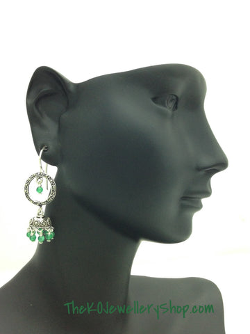 Silver Casual Wear Green Jhumka