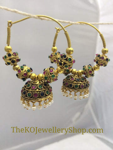 Gold plated hand crafted silver bali earrings