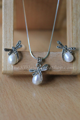 dragon fly motif pure silver pendant set online shopping india