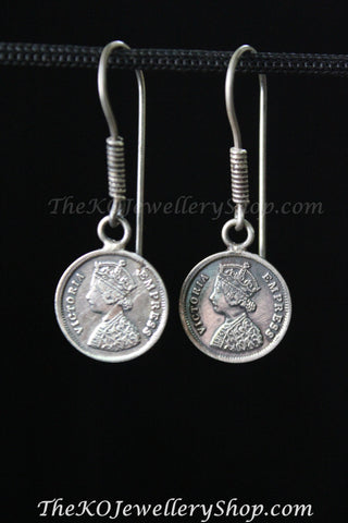antique silver coin earrings  online shopping