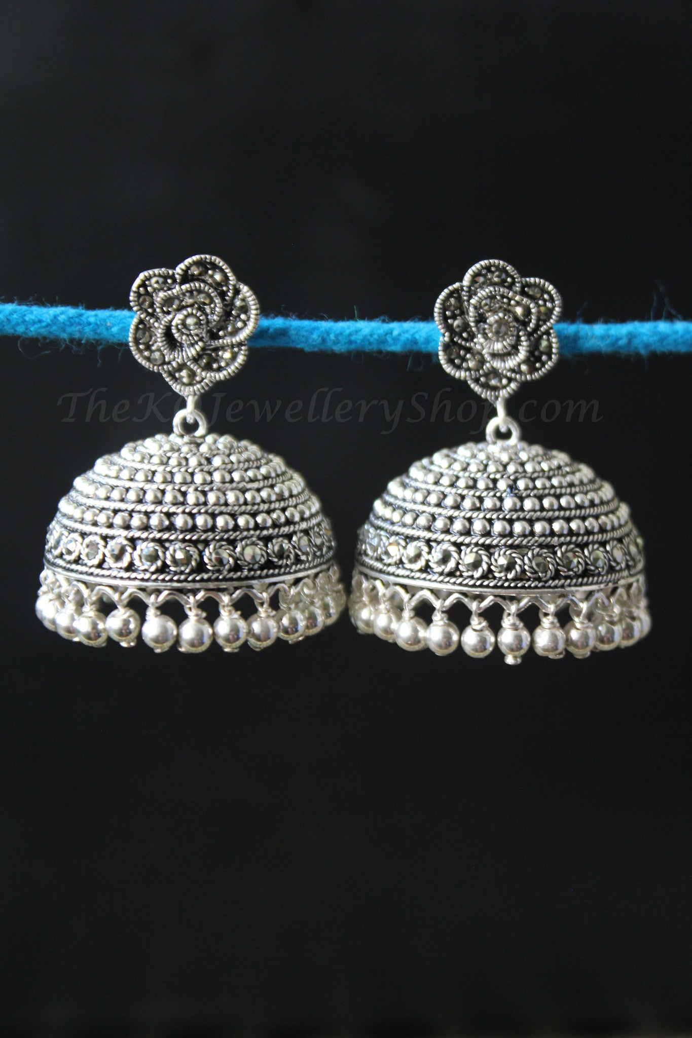 4bbcebf00366d The Rose Silver Marcasite Jhumka