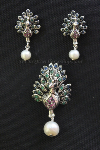 Hand crafted peacock motif pure silver pendant set  buy online