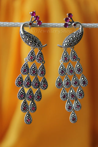 The Maruka Earrings - Red (ruby)