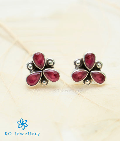The Anish Silver Gemstone Earrings (Red)