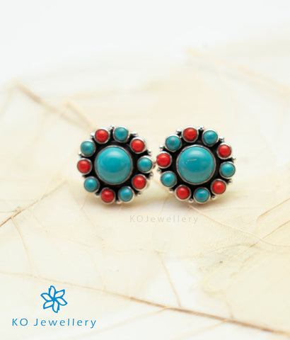 The Samidha Silver Ear-studs (Turquoise)