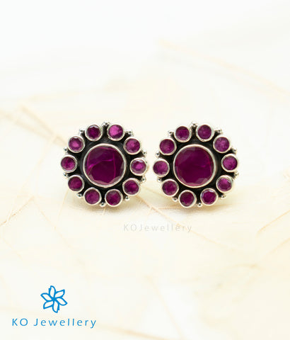 The Samidha Silver Ear-studs (Red)