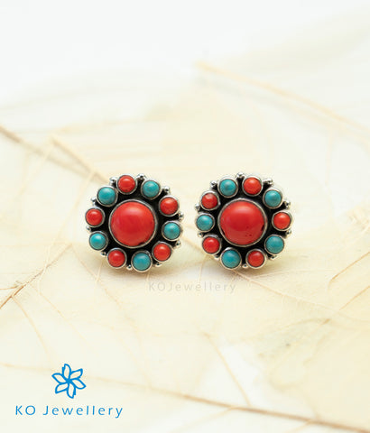 The Samidha Silver Ear-studs (Coral)