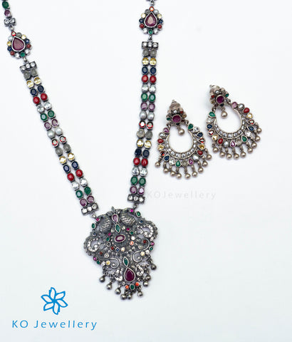 The Madhurya Silver Navaratna Peacock Necklace (Oxidised)