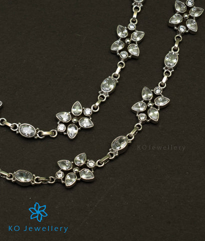 The Samhat Silver Gemstone Anklets (White)