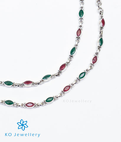 The Varna Silver Gemstone Anklets (Red/Green)
