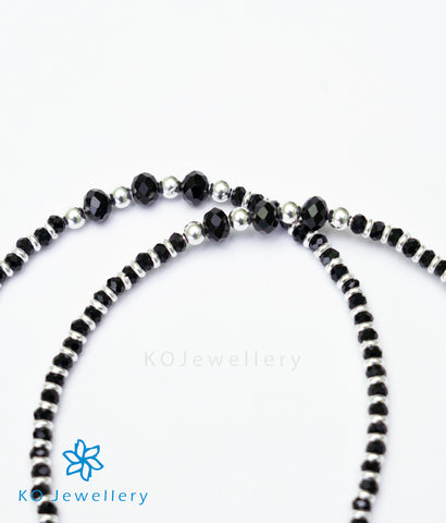The Shyama Silver Black-bead Anklets
