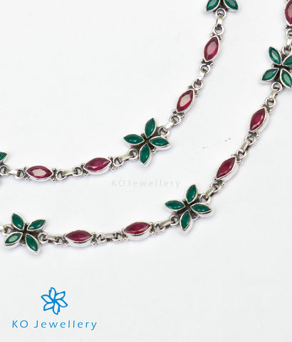 The Kripa Silver Gemstone Anklets (Red/Green)