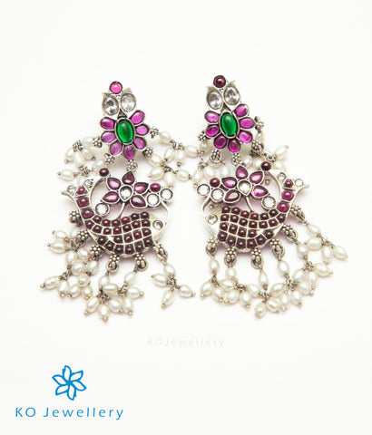 The Varuna Silver Fish Earrings (Oxidised/Rice Pearls)