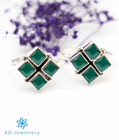 The Anaita Silver Toe-Rings (Green)