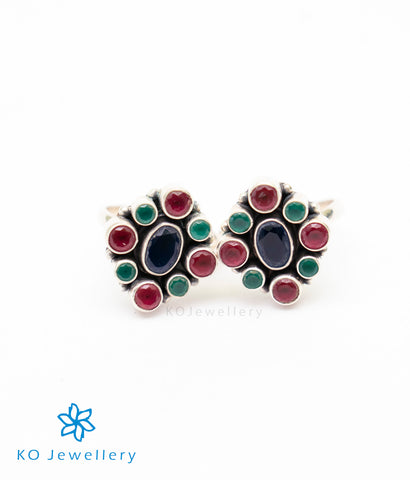 The Pahal Silver Toe-Rings (Multicolour)