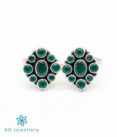 The Pahal Silver Toe-Rings (Green)