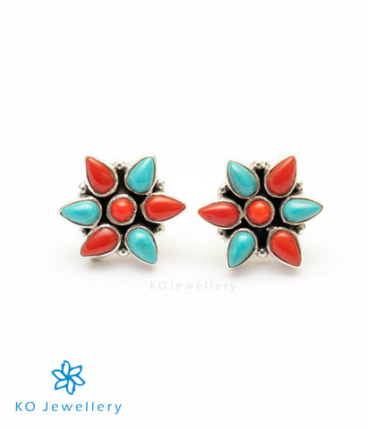 The Smriti Silver Gemstone Earrings (Coral)