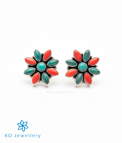 The Samad Silver Gemstone Earrings (Coral/Turquoise)