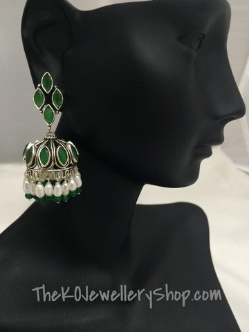 The Mumtaz Silver Jhumka- Green