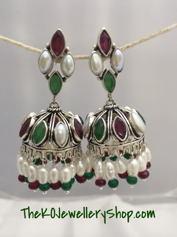 The Mumtaz Silver Jhumka- Multi colour