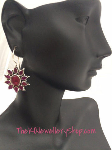 Sterling silver ruby studded vasuka earring buy online