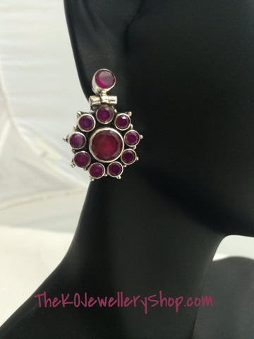 office wear silver ruby earrings online sale