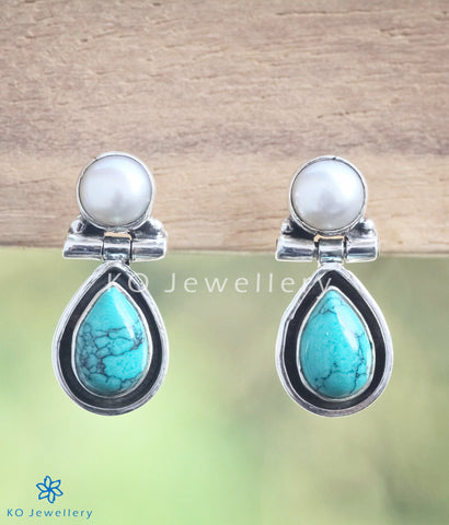 Simple and elegant turquoise and pearl earrings India