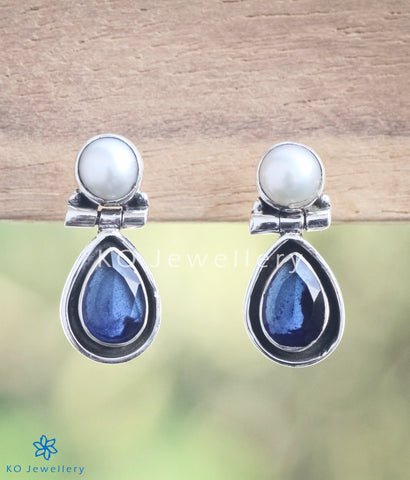 The Abha Silver Earrings(Blue)
