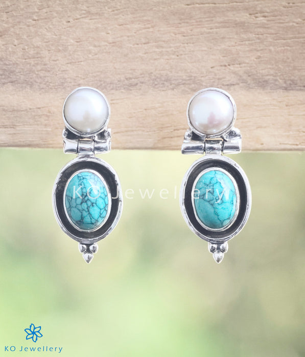 The Sara Silver Gemstone Earrings-Turquoise