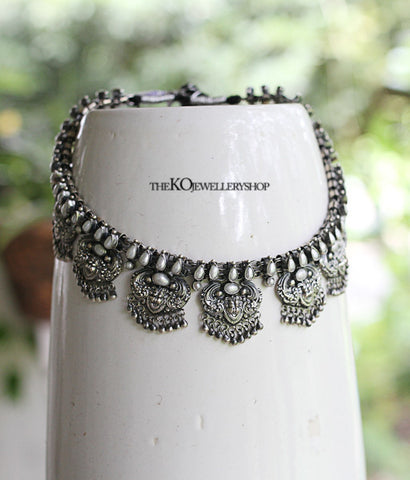 The Simha-Mukha Silver Necklace(Pearl)