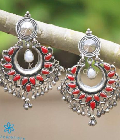 The Samatva Silver Earrings(Coral)