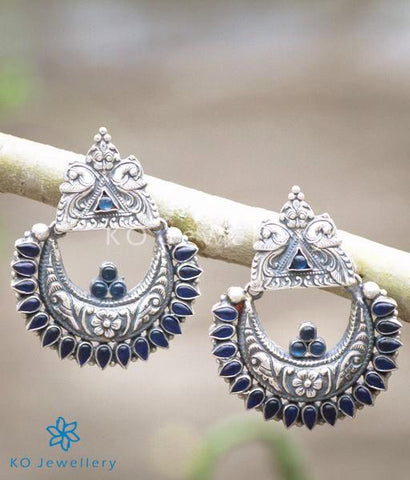 The Nilavarna Silver Peacock Earrings(Blue/Oxidised)
