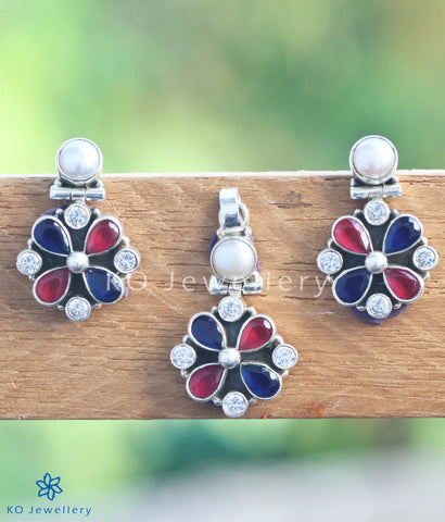 The Isha Silver Pendant Set (Red/Blue)