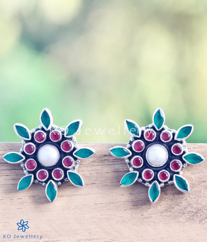 The Zara Silver Ear-studs (Red/Green)