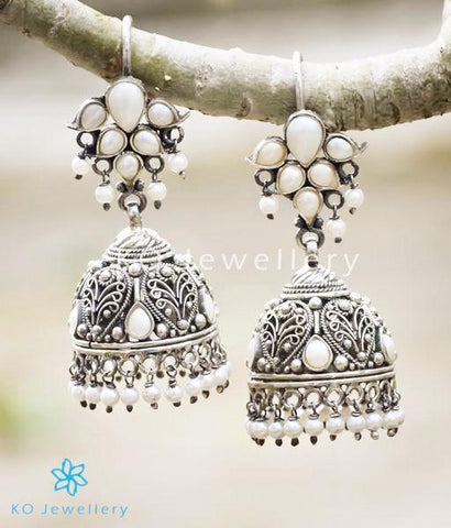 The Mallika Silver Jhumka(Pearl/Oxidised)