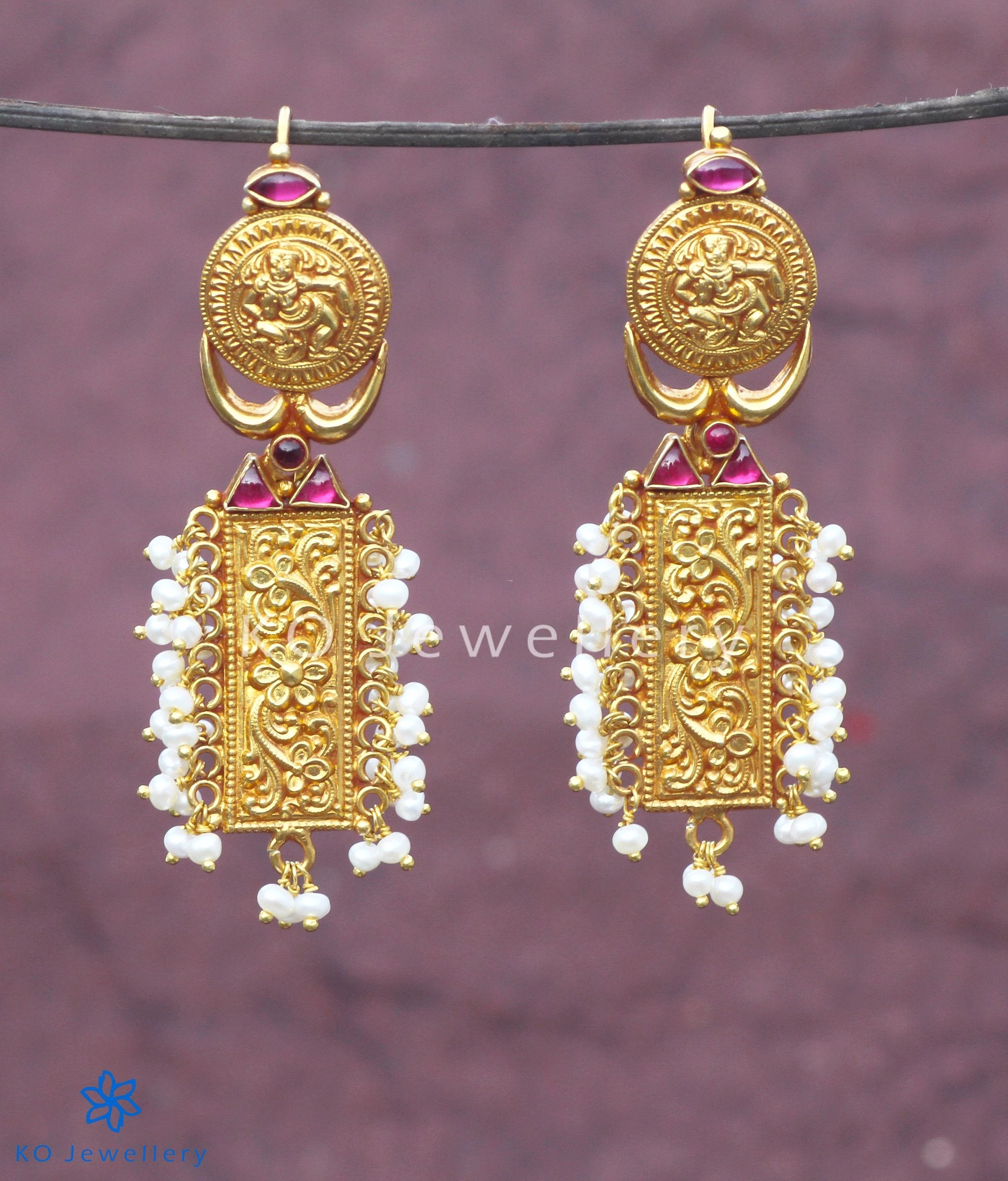 The Apsara Silver Earrings-Buy Temple Jewellery Collection Online ...