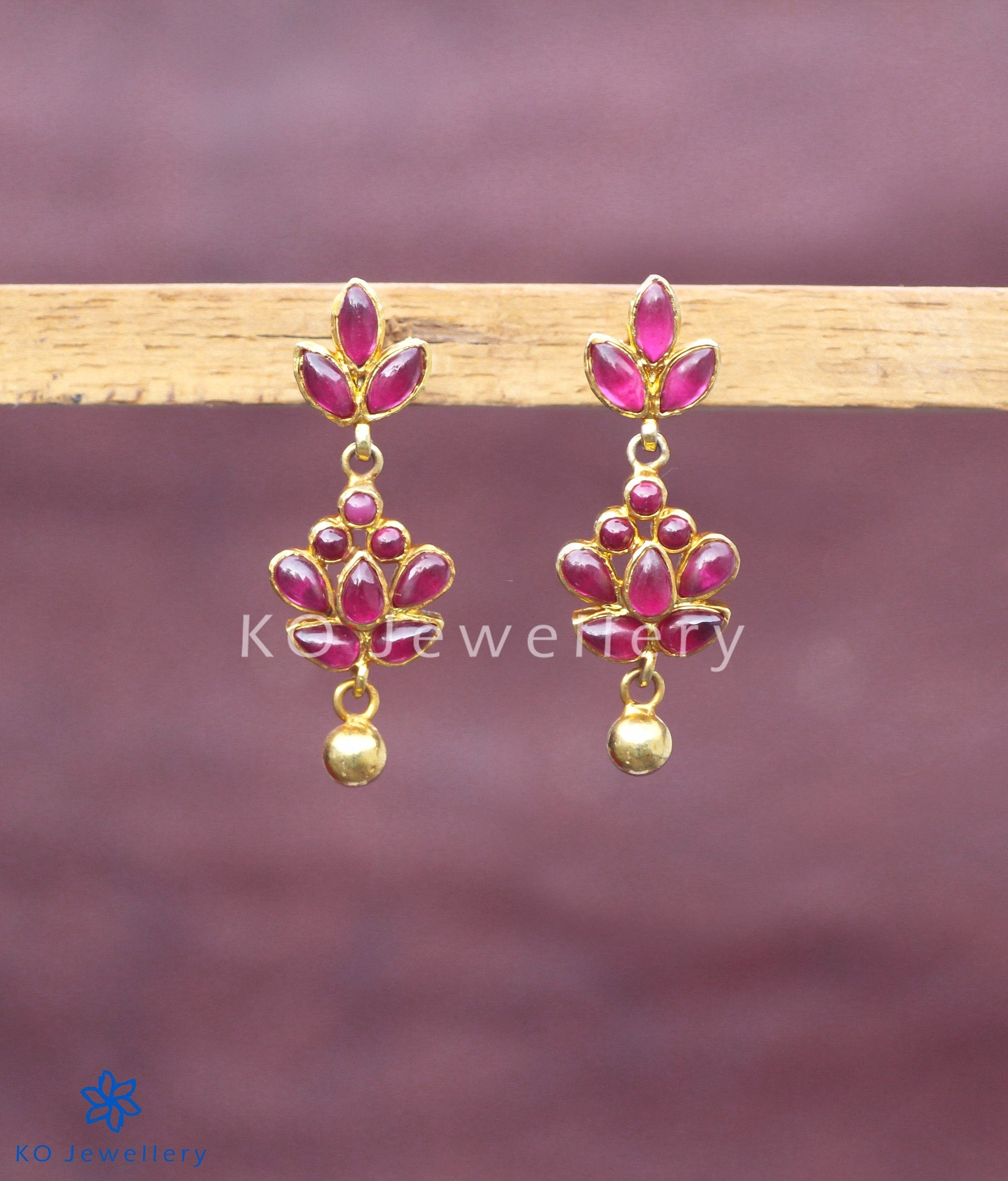 page red gorgeous wear dipped earrings shopping collections temple ko gold daily online silver jewellery