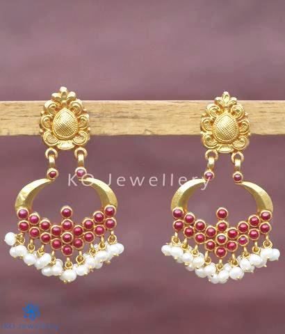 The Pratha Visirimurugu Silver Earrings(Red)