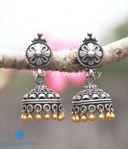 The Pushpak Silver Two-Tone Jhumka