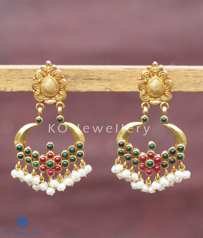 Earrings representing traditional South Indian temple jewellery design
