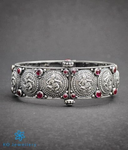 Handcrafted silver bracelet tradition South Indian temple jewellery design
