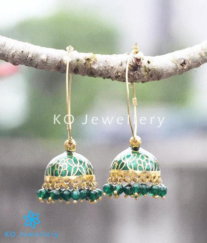 The Padmini Silver Green Enamel Bali-Jhumka