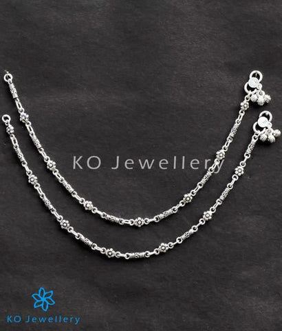 Gorgeous 925 silver ankle bracelet with floral motifs