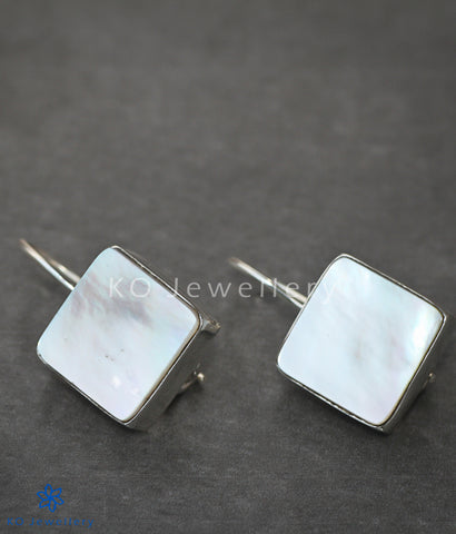 Silver earrings square mother of pearl