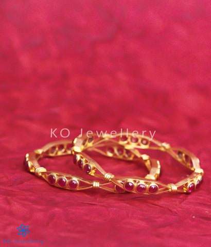 Exquisite gold-dipped real temple jewellery bangles