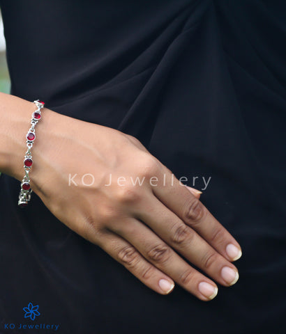 office wear jewellery silver and red-cubic zircon bracelet