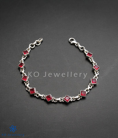 office wear jewellery silver and red zircon elegant bracelet